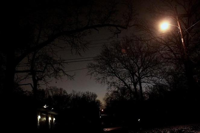 Eight o' clock. I start up my street, watching trees silhouetted against the glow of downtown.