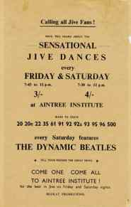 Poster for The Beatles at Liverpool's Aintree Institute, 1961