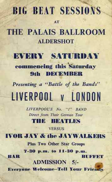 Poster for The Beatles at the Palais Ballroom, Aldershot, 9 December 1961