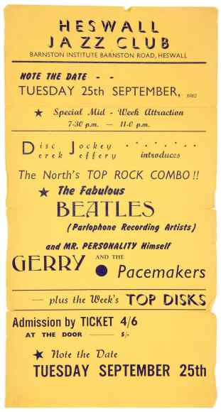 Poster for The Beatles at Heswall Jazz Club, 25 September 1962