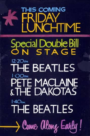 Poster for The Beatles' appearances at the Cavern Club, Liverpool on 30 November 1962