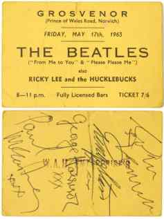 Autographed ticket for The Beatles at The Grosvenor, Norwich, 17 May 1963