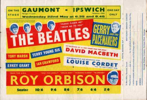 Poster for The Beatles at the Gaumont, Ipswich, 22 May 1963