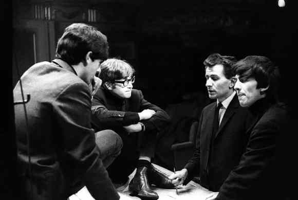 Paul McCartney, John Lennon, producer Bernard Andrews and George Harrison, Saturday Club, BBC, 17 December 1963