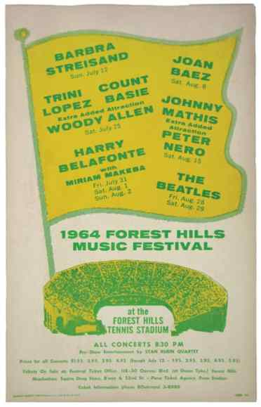 Poster for The Beatles' concerts at Forest Hills Tennis Stadium, New York, 28-29 August 1964