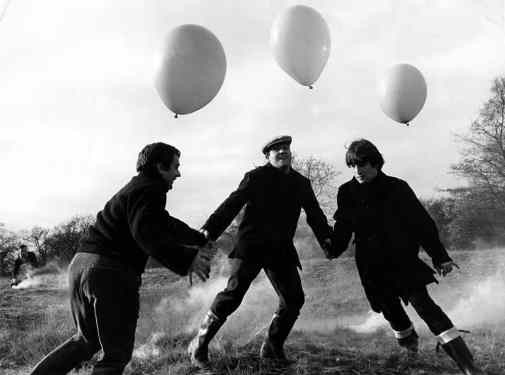 John Lennon, Dudley Moore and Norman Rossington filming Not Only... But Also, Wimbledon Common, London, 20 November 1964