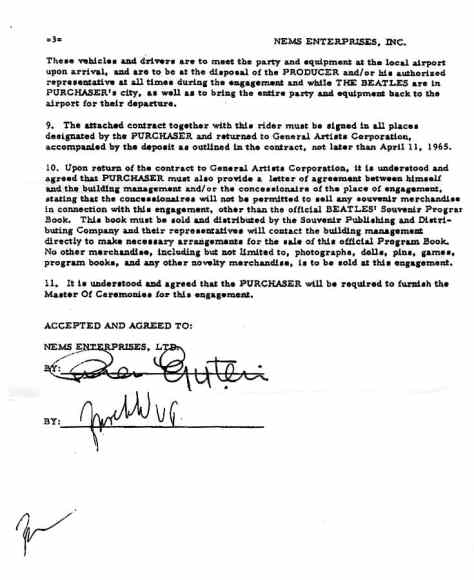 The Beatles' contract for performances at Portland Coliseum, 22 August 1965 - part four