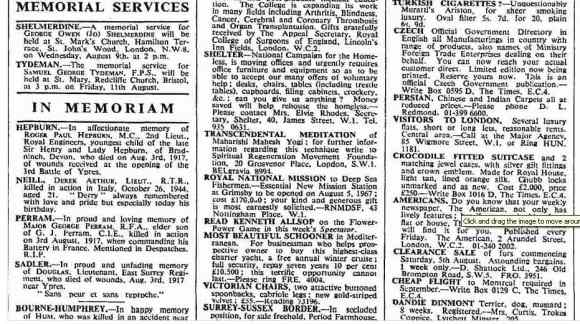 Advertisement about Maharishi Mahesh Yogi, The Times newspaper, 3 August 1967