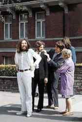 The Beatles prepare for the Abbey Road album cover photo shoot, 8 August 1969