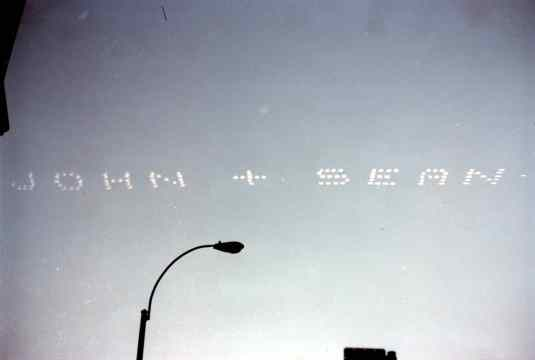 Skywriting on John Lennon's 40th birthday, 9 October 1980