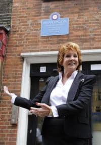 Cilla Black unveiling London plaque for Brian Epstein, 28 September 2010