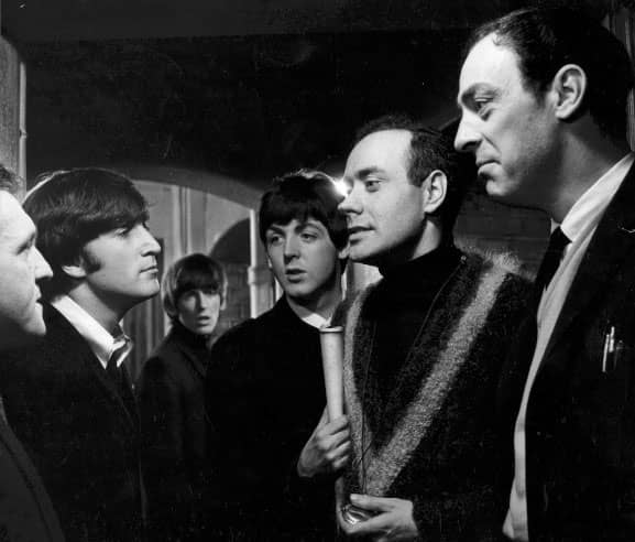 The Beatles with Victor Spinetti in A Hard Day's Night, 1964