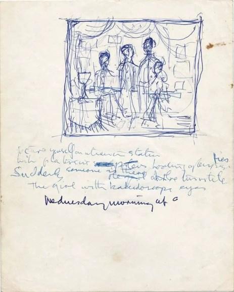 John Lennon's handwritten lyrics for Lucy In The Sky With Diamonds