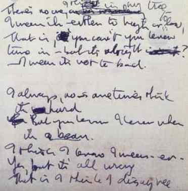 John Lennon's handwritten lyrics for Strawberry Fields Forever