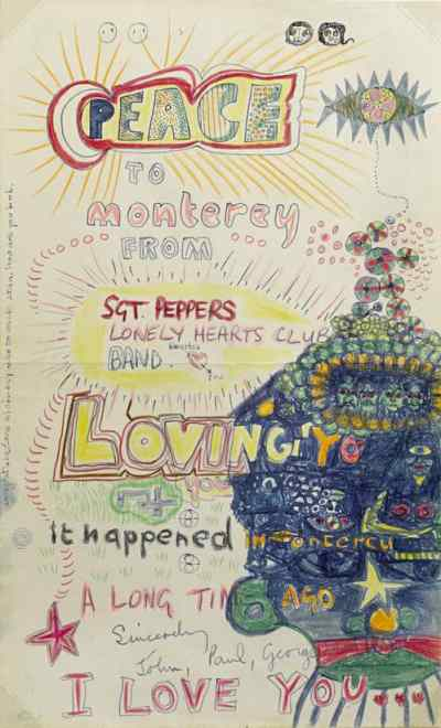 Peace To Monterey artwork by The Beatles, 1967