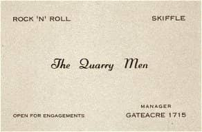 The Quarrymen's business card, 1950s