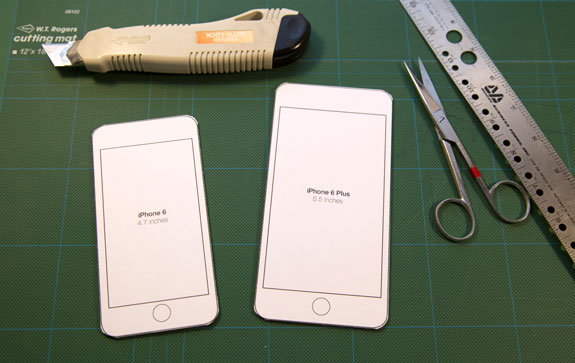 iphone cut out template - iphone templates on cutting board