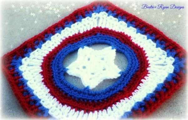 Granny's Shining Star Patriotic Square, Free Crochet Pattern