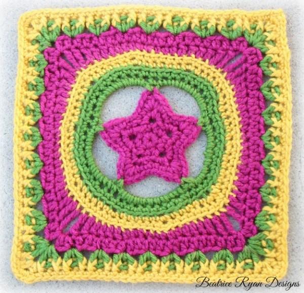 Free Crochet Pattern Granny Star : Granny s Shining Star Square