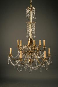 Antique French 12 arm brass and crystal chandelier