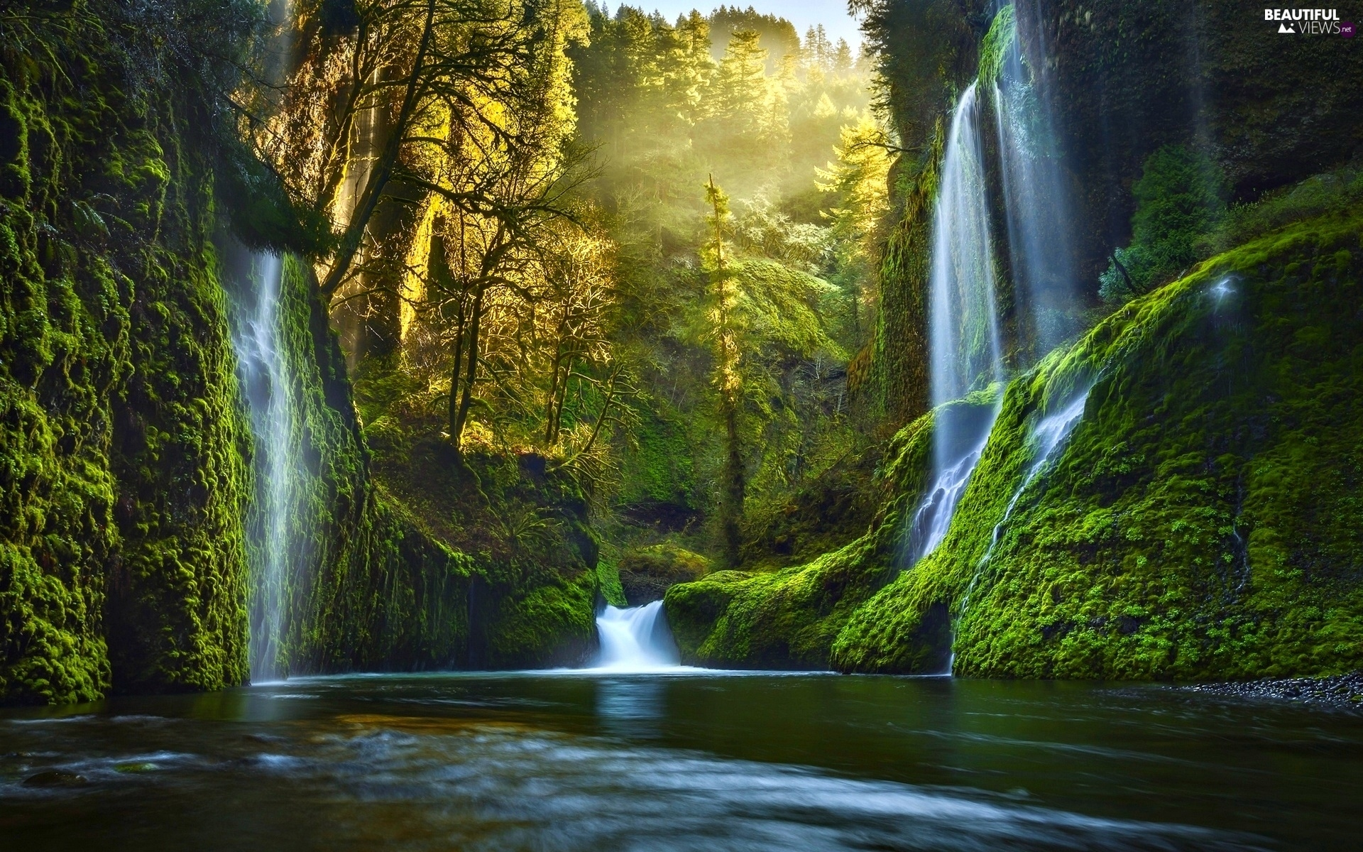 Panoramic Wallpaper Fall Forest River Light Breaking Through Sky Waterfall