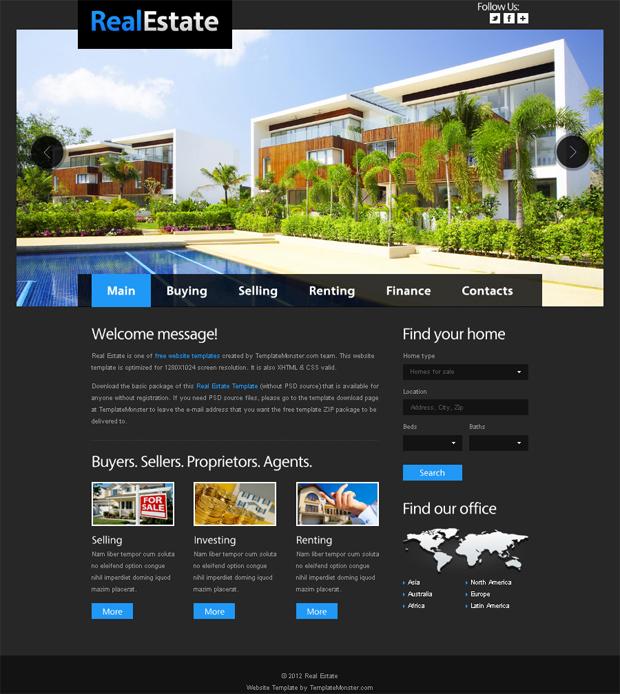 15 Best Free Real Estate Templates - property management websites templates