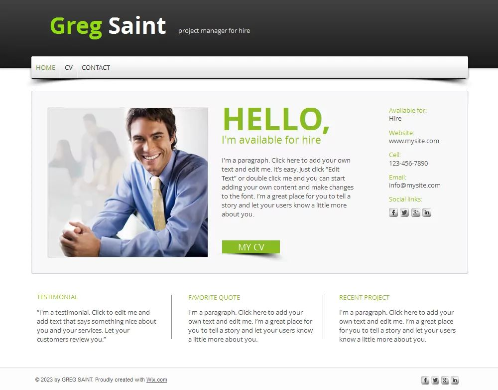 template free for cv web site