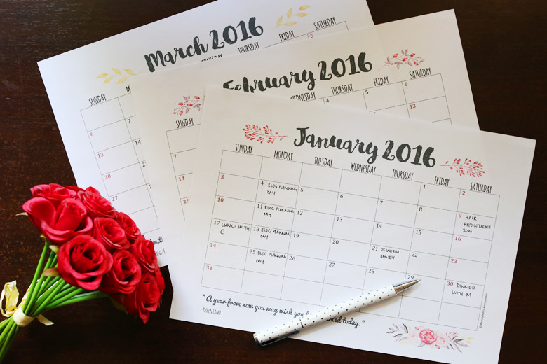 FREE DOWNLOAD Weekly and Monthly Planner Printables for 2016