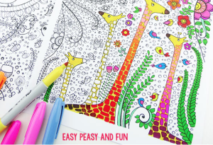 Giraffes and birds by Easy Peasy Fun