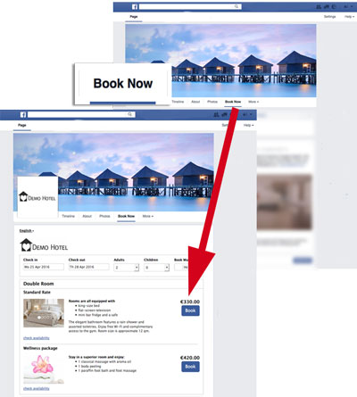 Facebook Booking App included in Beds24 Online Booking System - booking app