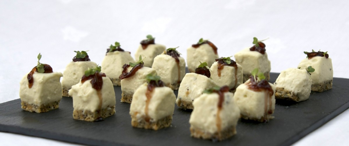 Goat's cheese cheesecakes with red onion jam