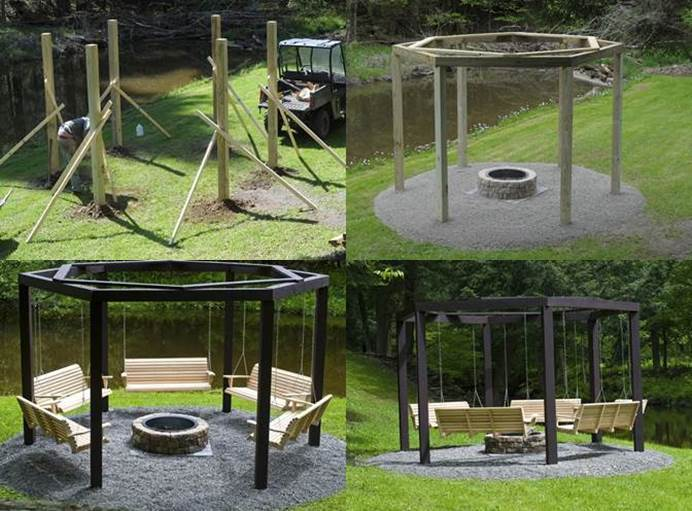 Diy Backyard Fire Pit With Swing Seats Beesdiycom