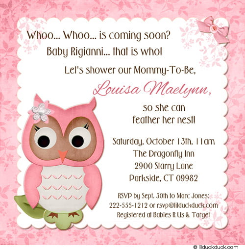 Pink Owl Baby Shower Thank You Card FREE Printable Baby Shower