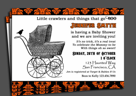 How To Throw Halloween Themed Baby Shower Invitation