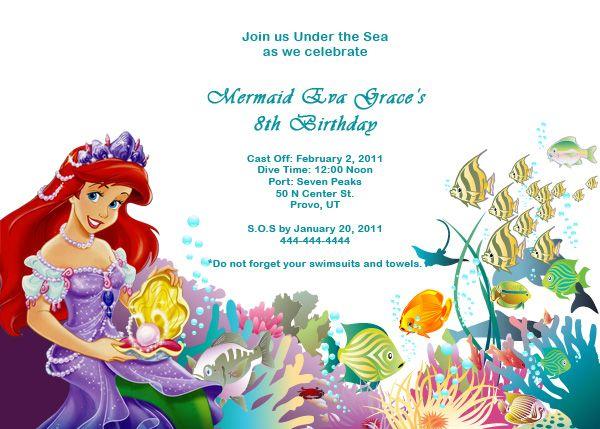 Mermaid Birthday Invitation Wording