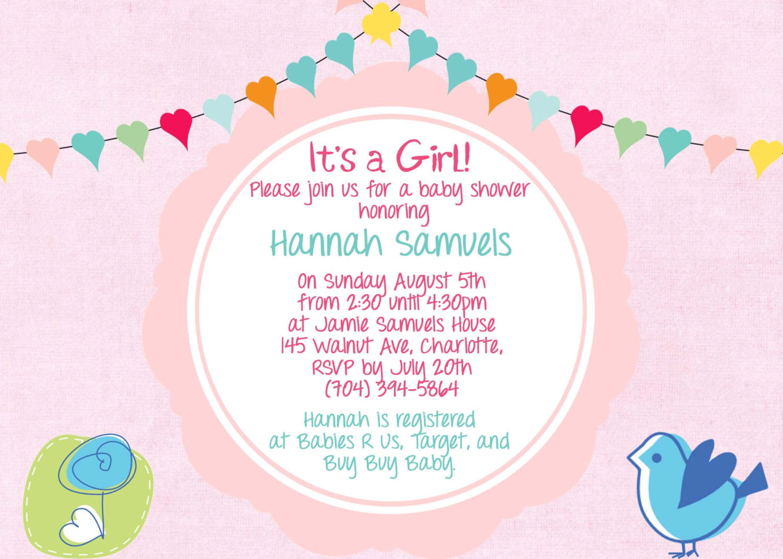 Baby Girl Shower Invitations Wording Free Printable Baby