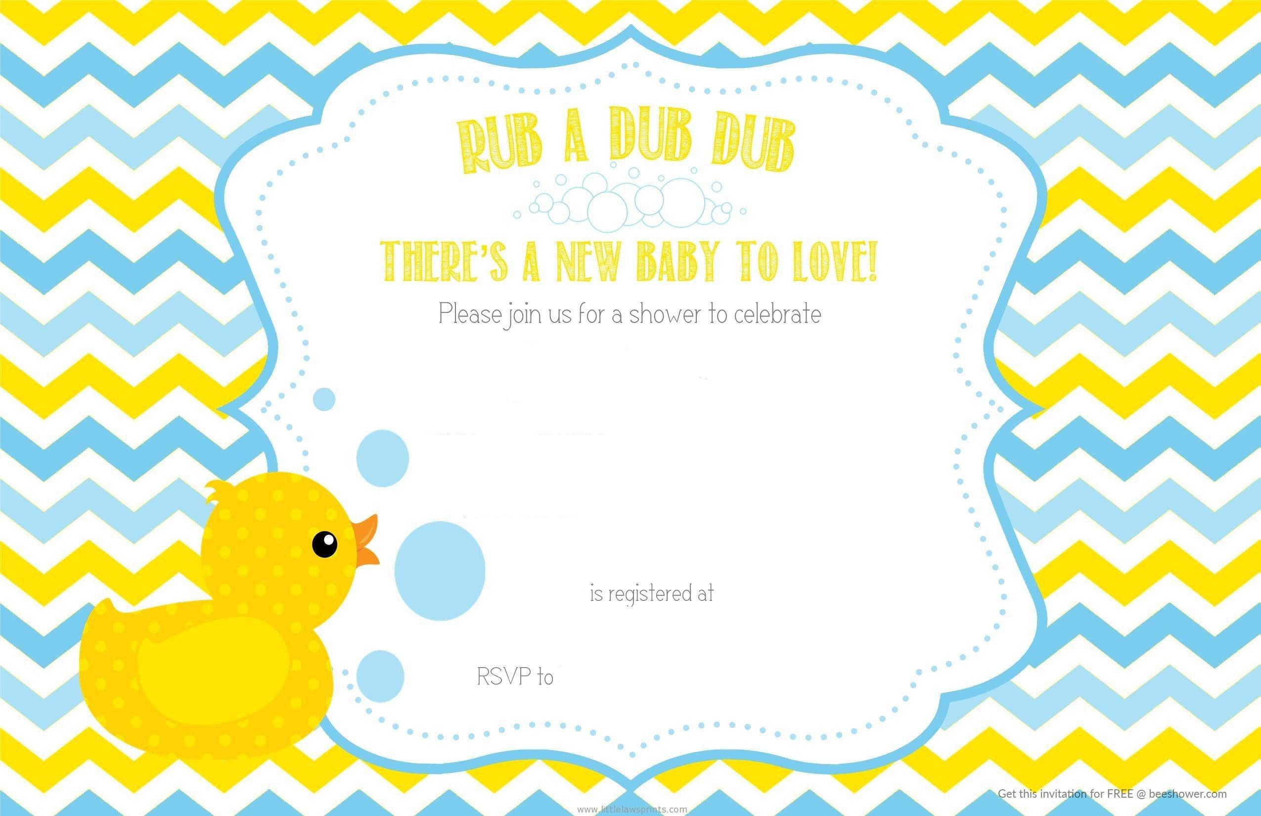 Free Printable Duck Chevron Baby Shower Invitation