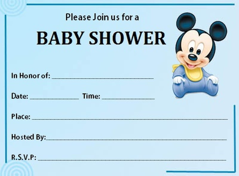 Free Printable Mickey Mouse Baby Shower Invitation Template FREE
