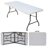 "6' x 2'6"" Folding Blowmold Trestle Table, Fold in Half ..."