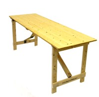"""Wooden Trestle Table - 6 Foot by 2 Foot 6"""" - Be Furniture ..."""