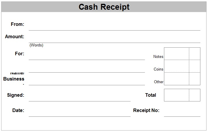 Receipt Form Rent – Cash Receipt Form Pdf