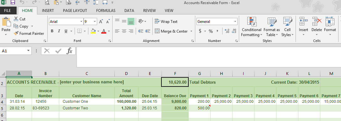 Accounts Receivable Ledger - business ledger example
