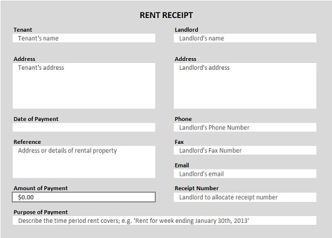 Free Receipt Forms - payment received receipt template