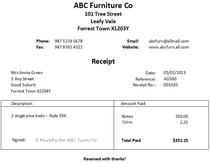 Free Word Receipt Template - Examples Of Receipts For Payment