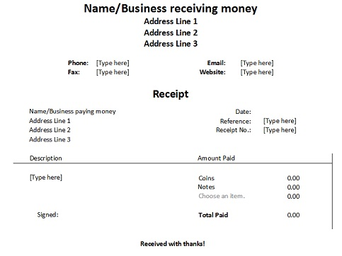 Free Receipt Forms - Cheque Receipt Format