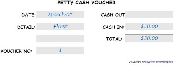 Petty cash slip showing how to make an entry for the cash float - petty cash voucher example