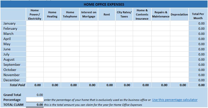 home office deduction worksheet excel