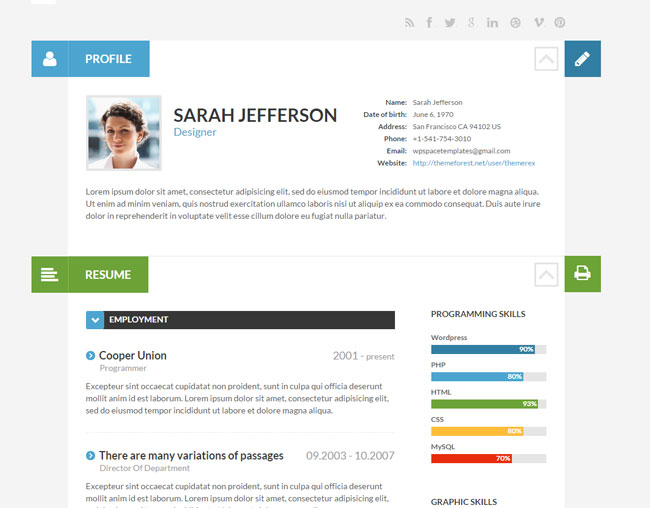 15 Best WordPress Themes for Creating Resume, CV  Profile