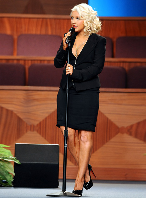 Why and What was Christina Aguilera Leaking at Etta James' Funeral?