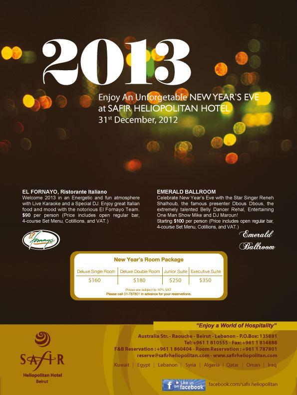 New Year's Eve At Safir Heliopolitan Hotel